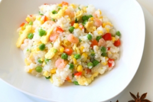 fried rice with scallions, edamame and tofu longevity